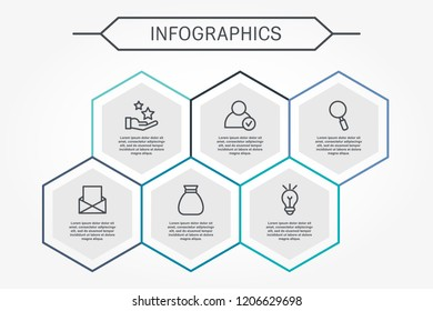 Modern vector illustration 3D. Infographic template with six hexagon elements. Designed for business, presentations, web design, diagrams with 6 steps for workflow layout, annual report.