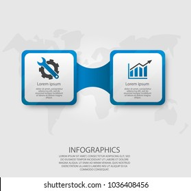 Modern vector illustration 3d. Template infographics with two elements rectangles. Designed for business, presentations, web design, diagrams with 2 steps, options, parts. Concept step by step.