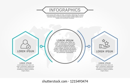 Modern vector illustration 3d. Template of circular infographics with two elements, hexagon. Contains map in the center. Designed for business, presentations, web design, diagrams with 2 steps.