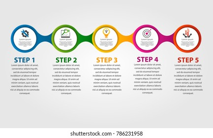 Modern vector illustration 3d. Template circle infographics with five elements. Designed for business, presentations, web design, diagrams with 5 steps, options, parts or processes. Creative concept.
