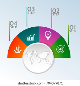 Modern vector illustration 3D. Template of circular infographics with four elements, sectors and percentages. Designed for business, presentations, web design, diagrams with 4 steps.