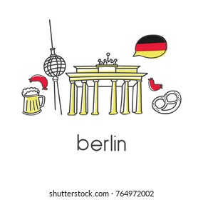 Modern vector illustration Berlin with hand drawn doodle german symbols: Brandenburg gate, television tower, beer, sausage, bagel Simple minimalistic design with black outline doodle isolated on white