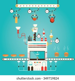 Modern vector illustration of burger factory, burger manufacturing. Industry of burger, fastfood production