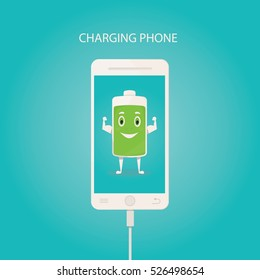 Modern vector illustration of charging mobile phone. Power of energy concept.