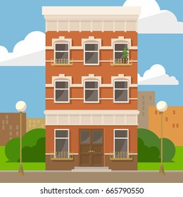 Modern vector illustration city apartments in downtown