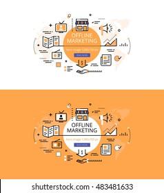 Modern vector illustration concept of offline marketing. Line flat design hero banners for websites and apps
