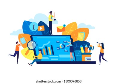 Modern vector illustration, concept of small people characters creating a web business page with infographic information on a laptop. illustration in a cartoon style