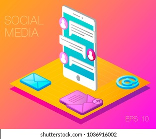 Modern vector illustration concept of social media.