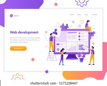 Modern vector illustration concept. The team of web developers constructs a personal user account or admin panel for the website. Website development. Flat vector banner.