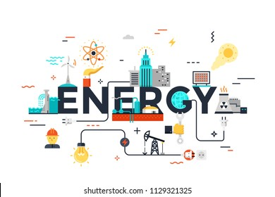 Modern vector illustration concept of word energy. Water supply, electric power generation, nuclear plant construction, oil extraction. Thin line flat design banner for website and mobile application.