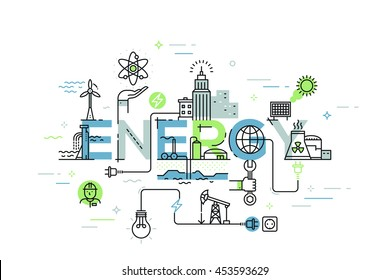 Modern vector illustration concept of word energy. Thin line flat design banner for website and mobile application, easy to use and highly customizable.