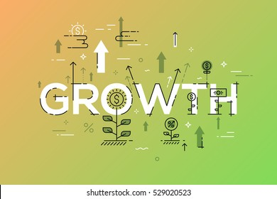 Modern vector illustration concept of word growth. Thin line flat design banner for website and mobile application, easy to use and highly customizable.