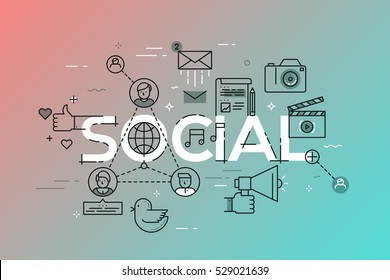 Modern vector illustration concept of word social. Thin line flat design banner for website and mobile application, network template, easy to use and highly customizable.