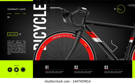 Modern Vector illustration concepts for websites. Easy to edit and customize. Landing page design templates for Cycling. UI design concept. Website Elements Dark Template. Bicycle design poster.