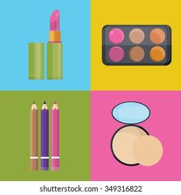 Modern vector illustration of cosmetic set, lipstick, eyebrown. powder