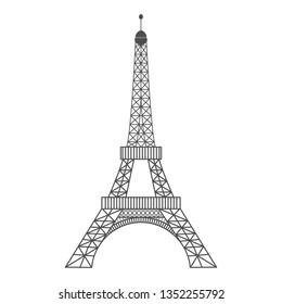 Modern vector illustration of Eiffel Tower. Black vector illustration. Romantic symbol in France. Paris sketched image. Sightseeing concept. Eiffel Tower landmark. Vector illustration