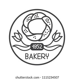 Modern vector illustration of famous turkish bagel simit with two tulips. Hand drawn doodle elements in circle frame for logo design of cafe, bakery, store or street food market.