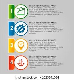 Modern vector illustration. Infographic template with four elements, circles and text. Step by step. Designed for business, presentations, web design, diagrams with 4 steps.