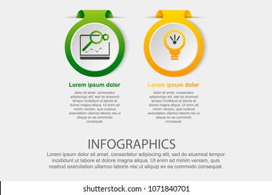 Modern vector illustration. Infographic template with the image of 2 circles, in the form of a label. 3d style two elements. Used for business presentations, education, web design, diagrams.