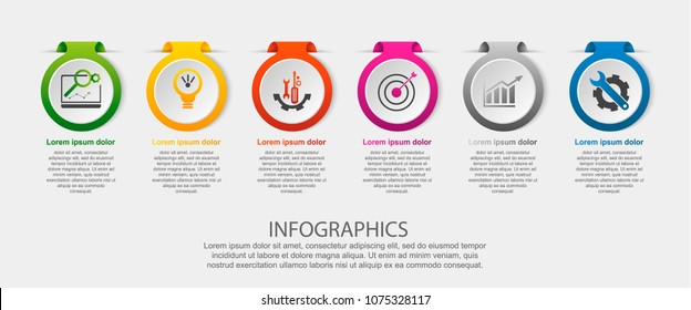 Modern vector illustration. Infographic template with the image of 6 circles, in the form of a label. 3d style six elements. Used for business presentations, education, web design, diagrams.