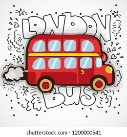 Modern vector illustration London with hand drawn doodle english symbol - red double decker bus. Simple cartoon sketch design of London bus. Touristic logo, icon with decoration elements isolate