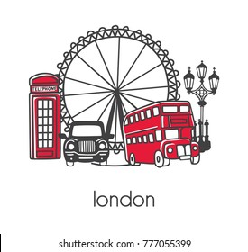 Modern vector illustration London with hand drawn doodle english symbols: double decker bus, telephone box, street lamp, cab, big wheel. Simple minimalistic design with black outline isolated on white