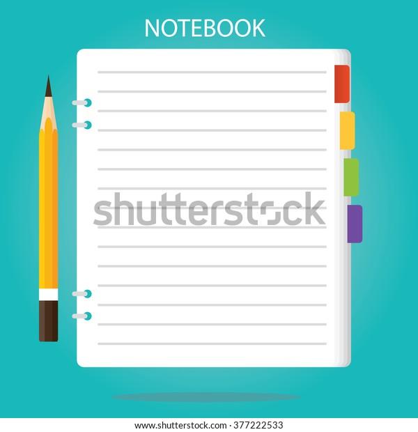 Modern Vector Illustration Notepad Paper Sheet Stock Vector