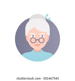Modern vector illustration of old woman with glasses. Icon of person.  Image is out of circle range. Flat icon of granny's face. The character. Avatar for web.