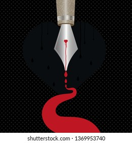 Modern vector illustration of a pen with a bleeding heart dripping blood from its tip. Concept illustration of a bleeding heart. Black background with dotted pattern design.
