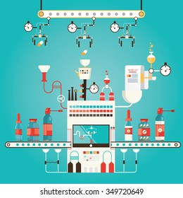 Modern vector illustration of pharmacy factory, industry of medicine, medical technology