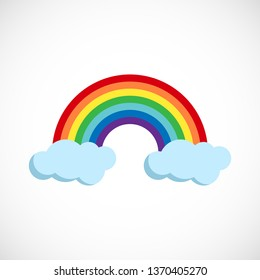 Modern vector illustration of the rainbow and clouds. Flat forecast icon of a cloudy weather. Meteorological symbol isolated on white background.
