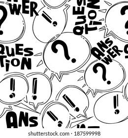 Moderne Vektorgrafik nahtlose Muster von schwarz-weiß Fragen und Antworten Cartoon-Blasen