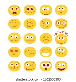 Modern vector illustration of set of cute funny emoticons.  Emoji set. Set for social networks, messenger and chats. Different smiles with laugh kisses surprise love and sadness