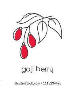 Modern vector illustration of a superfood Goji berry. Clear and simple line icon design with black outline and red color blocks isolated on white background.
