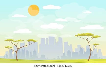 Modern vector illustration of urban landscape. Flat city. Set of buildings.City park Urban outdoor decor, elements parks and alleys.