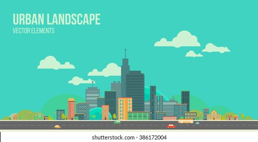 Modern vector illustration of urban landscape. Flat city. Set of buildings. Creative background. Panorama