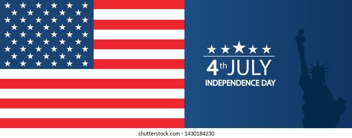 Modern vector illustration of USA Independence Day. Celebration of Fourth of July in United States of America. Background for greeting cards, banners, posters