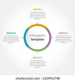 Modern vector infographic with 4 options. Circle template with options for brochure, diagram, timeline, web design.