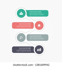 Modern vector infographics elements with creative design illustration. Can be used for workflow layout, diagram, number options,  icons for 4 steps or options, vector design template. EPS10