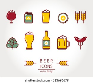 Modern vector isolated illustration beer icons set. Line style design.