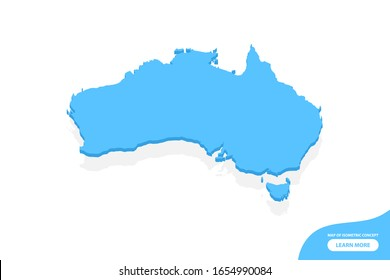 Modern vector isometric concept greeting Card map of Australia elements white background for landscape design.