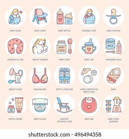 Modern vector line icon of breastfeeding, baby infant food. Breast feeding elements - pump, woman, child, powdered milk, bottle sterilizer, bib. Linear pictogram with editable stroke