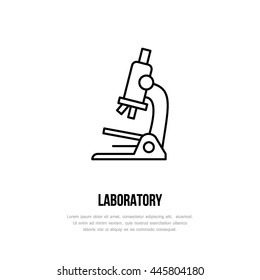 Modern vector line icon of microscope. Scientific research linear logo. Outline symbol for laboratory. Biology design element for sites, hospitals. Medical equipment business logotype, glass sign.