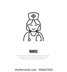 Modern vector line icon of nurse. Gynecology clinic linear logo. Outline doctor symbol for polyclinics. Obstetrics design element for sites, hospitals. Medical business logotype, maternity sign.
