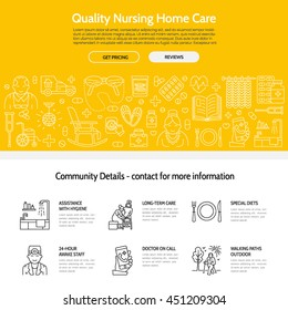 Modern vector line icon of senior and elderly care. Nursing home elements - old people, wheelchair, leisure, hospital call button, leisure. Linear template for site, brochure, poster. Editable stroke.
