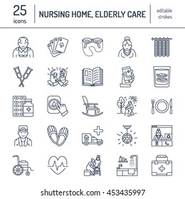 Modern vector line icon of senior and elderly care. Nursing home elements - old people, wheelchair, leisure, hospital call button. Linear pictogram with editable stroke for sites, brochure.