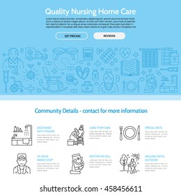 Modern vector line icon of senior and elderly care. Nursing home elements - disabled, medicines, hospital call button, leisure. Linear medical template for sites, brochures, poster. Editable strokes.