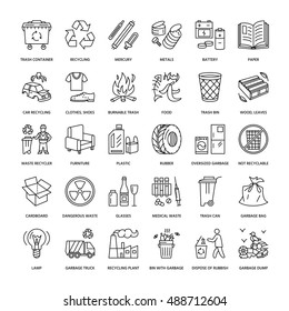Modern vector line icon of waste sorting, recycling. Garbage collection. Recyclable trash - paper, glass, plastic, metal. Linear pictogram with editable stroke for poster, brochure of waste management