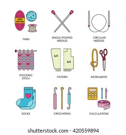 Modern vector line icons set of knitting and crochet. Hand made elements: yarn, knitting needle, hook, pin and others. Outline symbol collection for invitations, notes, sites, banner