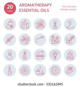 Modern vector line icons set of aromatherapy and essential oils. Elements - diffuser, burner, spa candles, incense sticks. Linear pictogram with editable strokes for aroma therapy massage salon